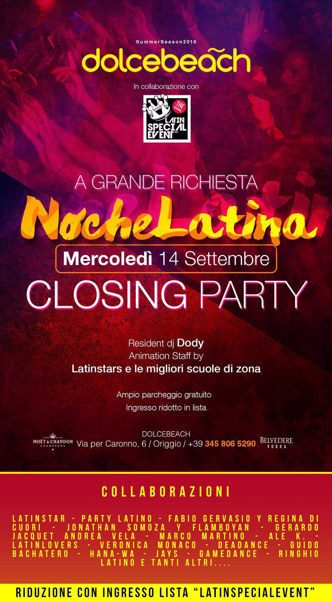 MERCOLEDI 14 SETTEMBRE CLOSING PARTY 'NOCHE LATINA' presso DOLCEBEACH